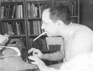 Murray using a typewriter